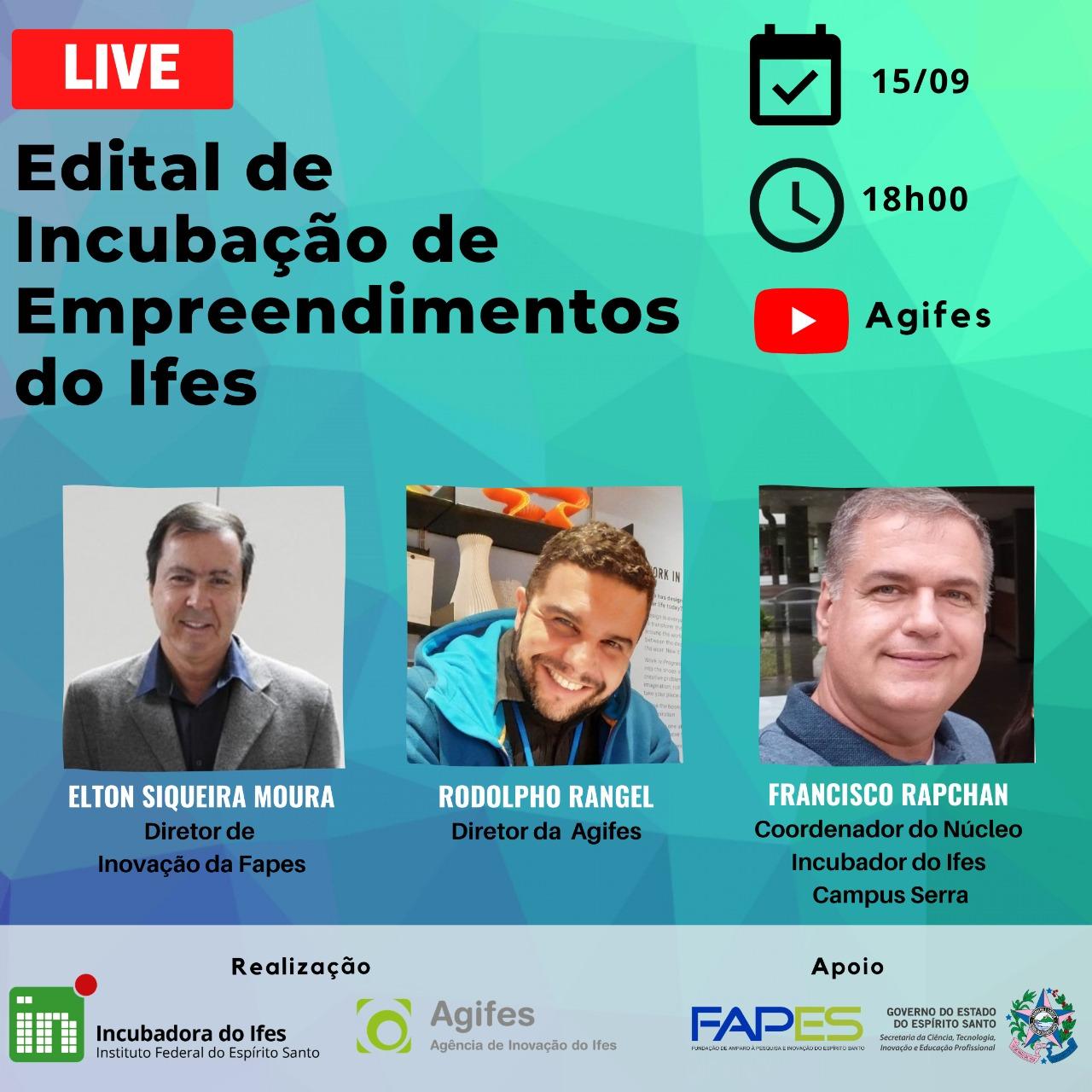 live agifes fapes incubacao